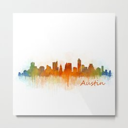 Austin Texas, City Skyline, watercolor  Cityscape Hq v3 Metal Print