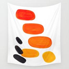 Mid Century Modern Colorful Minimal Pop Art Yellow Orange Ombre Rainbow Gradient Pebble Ovals Wall Tapestry