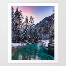 Magical sunset with turquoise river in Mojstrana, Slovenia Art Print