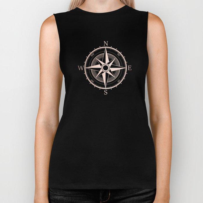 Rose Gold Compass Biker Tank