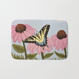 Swalowtail Butterfy on Purple Cone Flower Bath Mat