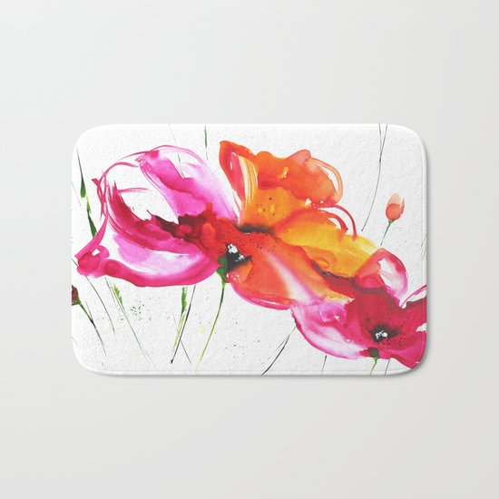 Abstract flower colorful painting Bath Mat