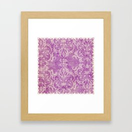 Antique rustic purple damask fabric Framed Art Print