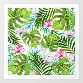 Modern tropical pink lilac green watercolor floral Art Print