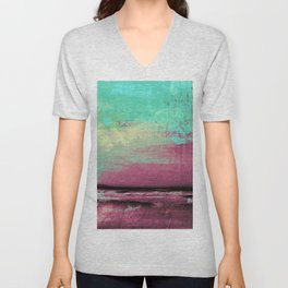 Green Color Patches Unisex V-Neck