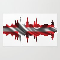 copenhagen Area & Throw Rugs featuring Copenhagen city silhouette by South43