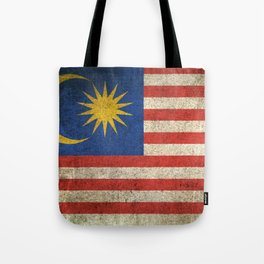 Old and Worn Distressed Vintage Flag of Malaysia Tote Bag