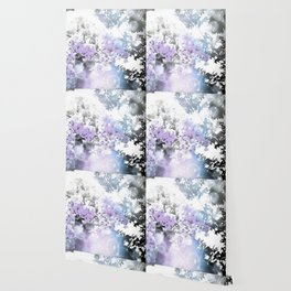 Watercolor Floral Lavender Teal Gray Wallpaper