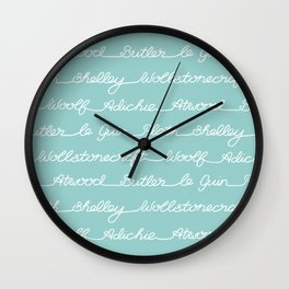 Feminist Book Author Surname Hand Written Calligraphy Lettering Pattern - Blue Wall Clock