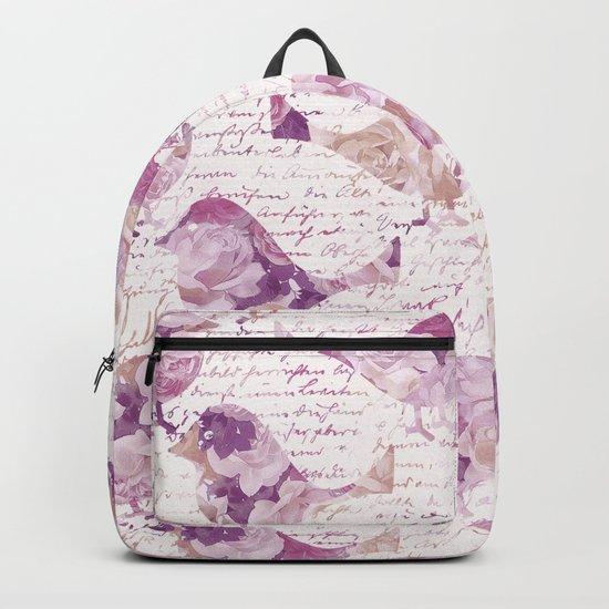Vintage Flower Birds and handwriting pattern Backpack