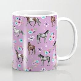 Purple Horse and Flower Print, Hand Drawn, Horse Illustration, Little Girls Decor Coffee Mug