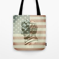 lincoln Tote Bags featuring Lincoln by Gusvili