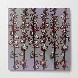 Flower Stalks on Gray Background Metal Print
