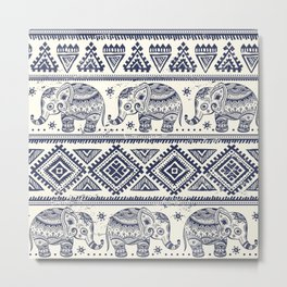 Vintage ethnic aztec with lovely elephants hand drawn illustration pattern Metal Print
