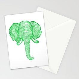 Green Elephant Illustration Stationery Cards