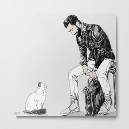 A Boy and His Cat  Metal Print