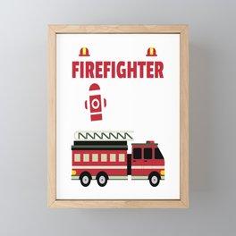 This Little Firefighter Is 3 Birthday Gift For Boys & Girls Framed Mini Art Print