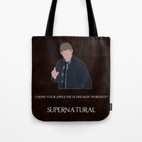 dean winchester Tote Bags featuring Supernatural - Dean Winchester by MacGuffin Designs
