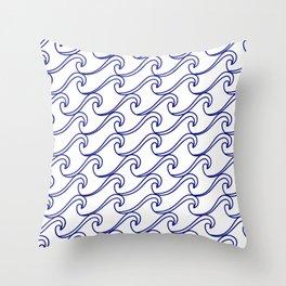 Rough Sea Pattern - blue on white Throw Pillow
