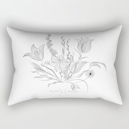 Thinking about flowers - plants nature lover - black and white Rectangular Pillow