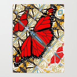 CONTEMPORARY RED BUTTERFLIES  ABSTRACT COLLAGE Poster