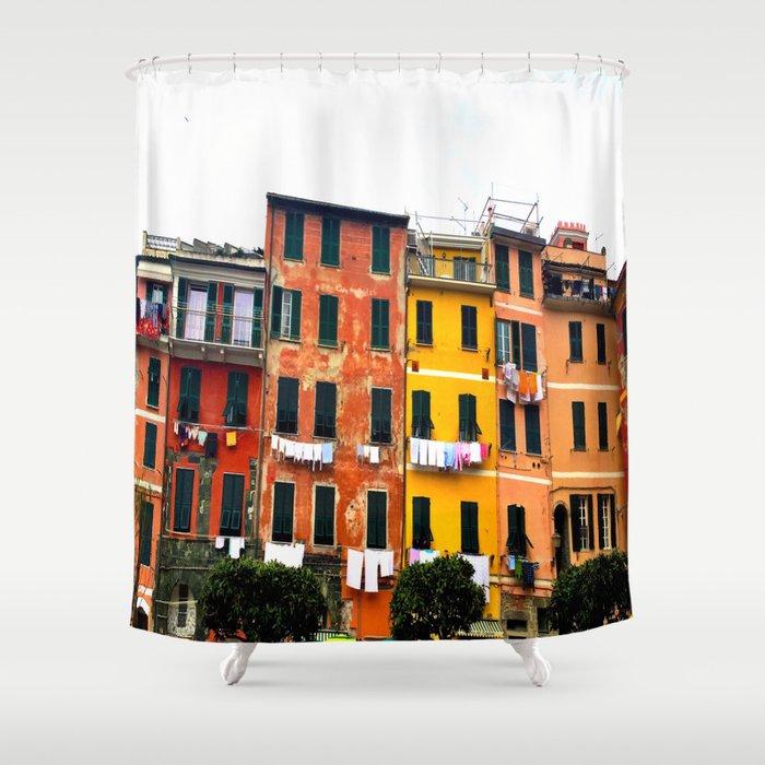 Cinque Terre - Colorful Buildings in Monterosso Shower Curtain
