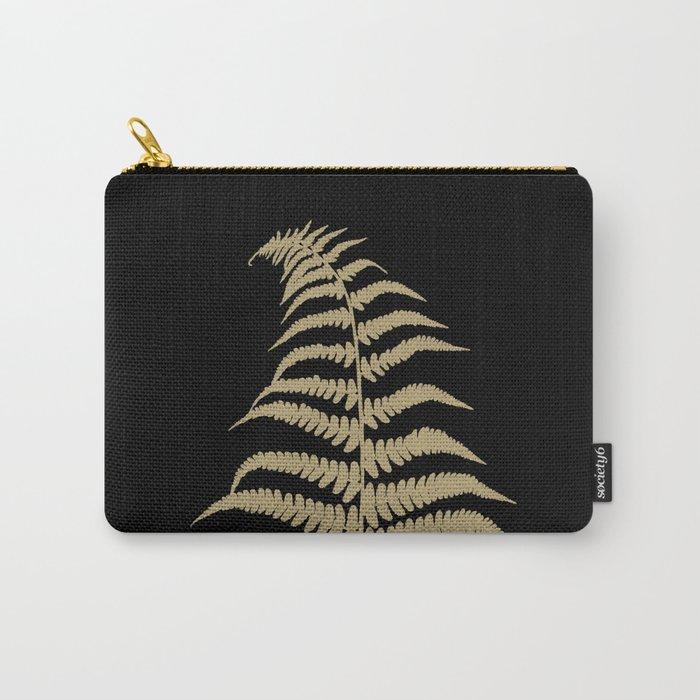Fern Leaf Gold on Black #1 #ornamental #decor #art #society6 Carry-All Pouch