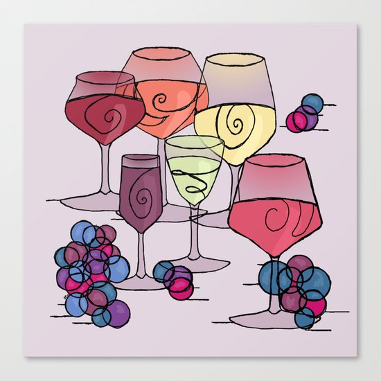 Wine and Grapes v2 Canvas Print