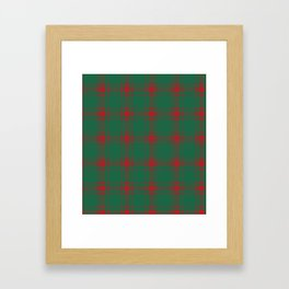 Minimalist Middleton Tartan in Red + Green Framed Art Print
