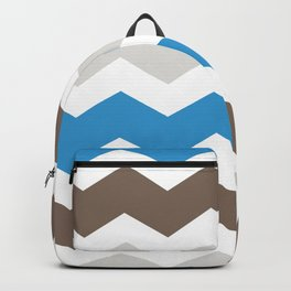 Brown Blue Gray Chevron Backpack