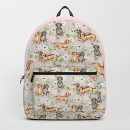 Dachshunds and dogwood blossoms Backpack