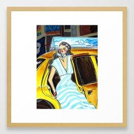 Yellow Cab at Time Square – Original Fashion art, Fashion Illustration, Fashion wall art Framed Art Print