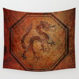 Distressed Chinese Dragon In Octagon Frame Wall Tapestry