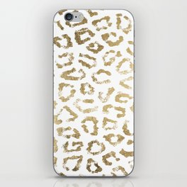 Modern white chic faux gold foil leopard print iPhone Skin