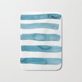 Aqua Stripes Abstract Modern Art Bath Mat