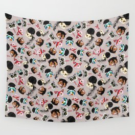 Pop Cats - Pattern French Gray Grey Wall Tapestry