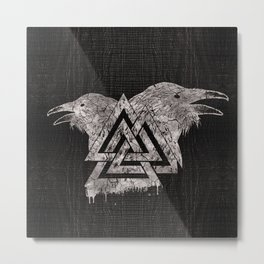 Valknut Symbol and Raven Metal Print