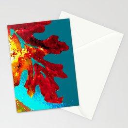 Flaming Orange Oak Leaf, painted acrylic, digitally altered Stationery Cards