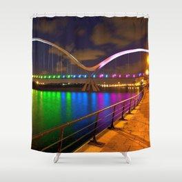 Marvellous Rainbow Colored Krishna River Bridge Reflection Nightlife Vijayawada India Asia UHD Shower Curtain