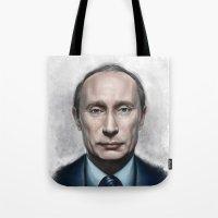putin Tote Bags featuring Vladimir Putin by Pavel Sokov