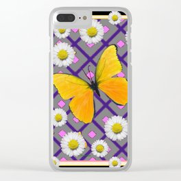 Yellow Butterfly on Black-grey Shasta Daisy Abstract Pattern Clear iPhone Case