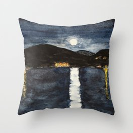 full moon by the sea Throw Pillow