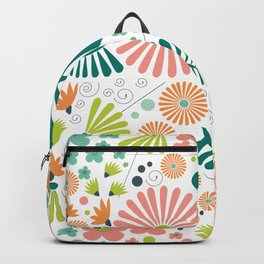 Whimsical flowers - pink, white and green Backpack