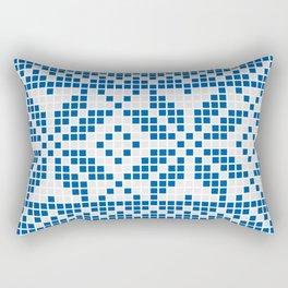 Blue & White Ethnic Pattern Rectangular Pillow