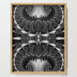 Baroque Feathers B&W Serving Tray