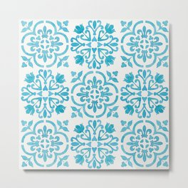 Watercolor Moroccan Tiles - Turquoise Blue Metal Print