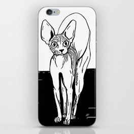Black and White Sphynx Cat Line Drawing - Sphynx Lovers Gift - Naked Cat - Wrinkly Kitty iPhone Skin
