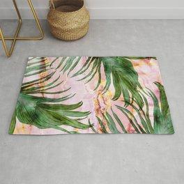Palm leaf on marble 01 Rug