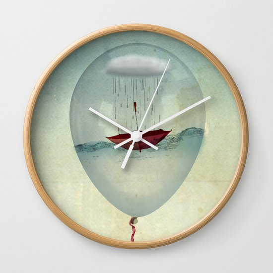 embracing the rain in a bubble Wall Clock