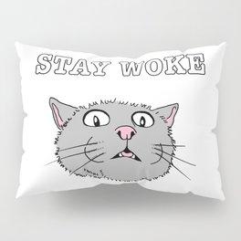 Stay Woke Cat Funny Kitty Pillow Sham